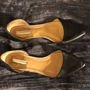 Pointy black d'orsay flats